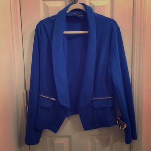 FTF Bright Cobalt Blue Shawl Collar Blazer